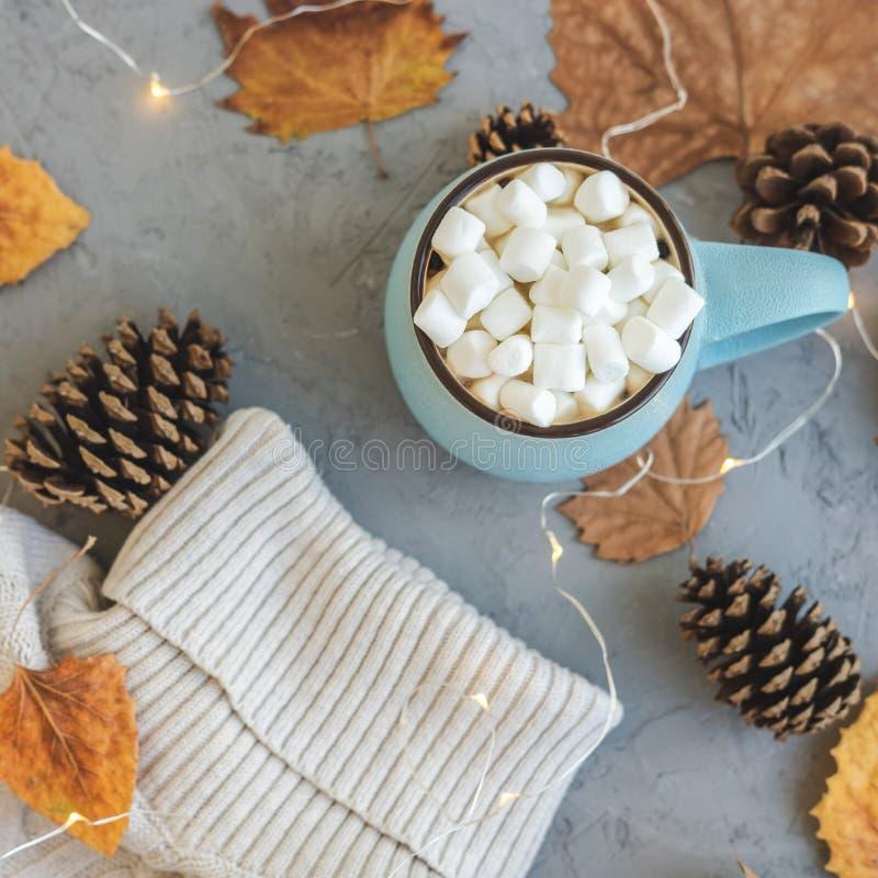 Błękitny kubek z kawą, gorąca czekolada lub kakao z marshmallow na szarość, betonujemy tła i lying on the beach suchych liście, r obraz stock