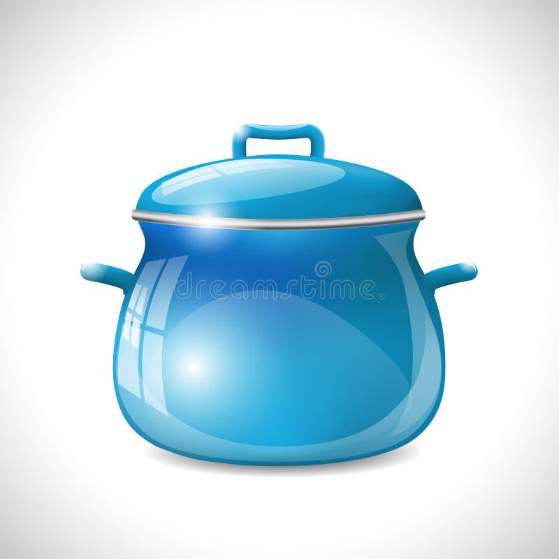 Błękitny kuchenny garnek w retro stylu ilustracja wektor