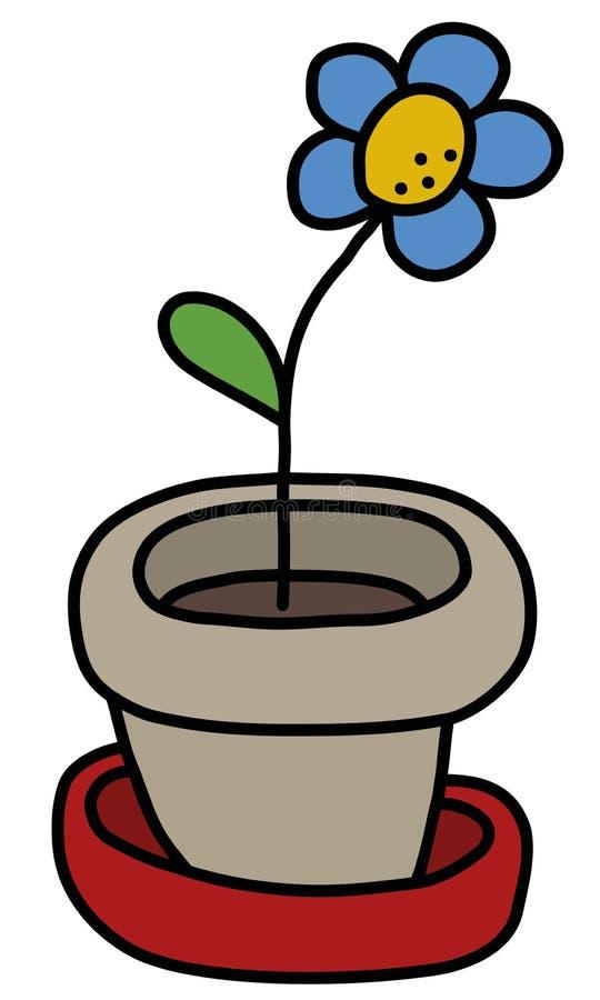 Błękitny kwiat w flowerpot ilustracja wektor