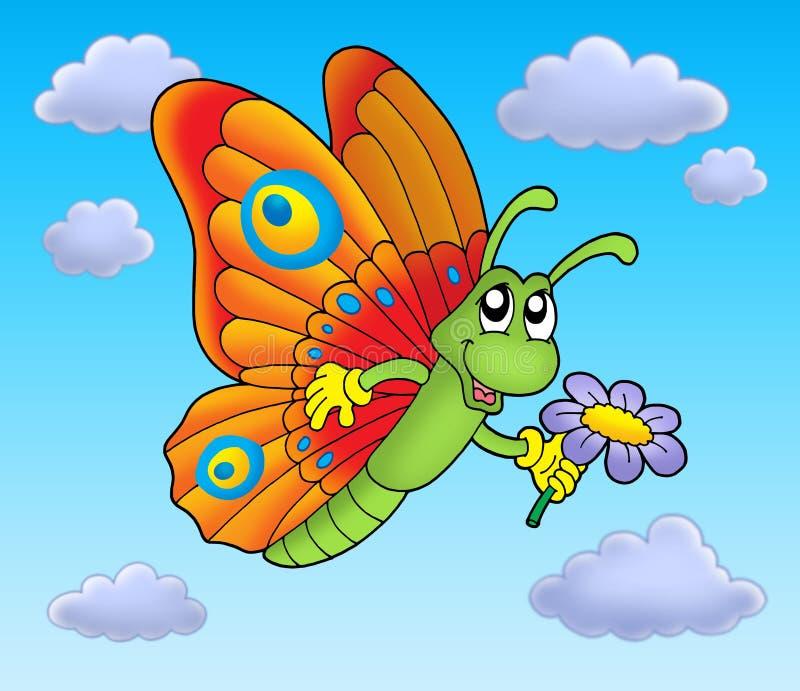 błękitny kwiatek motyliego niebo royalty ilustracja