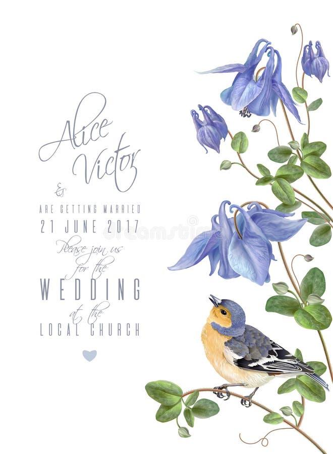 Błękitny kwiatu ptak royalty ilustracja