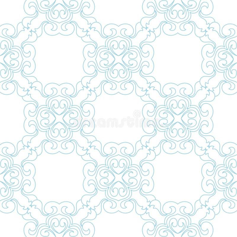 Błękitny kwiecisty bezszwowy wzór na białym tle royalty ilustracja