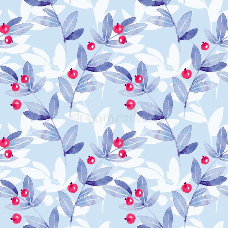 Błękitny kwiecisty bezszwowy wzór z liśćmi i jagodami royalty ilustracja