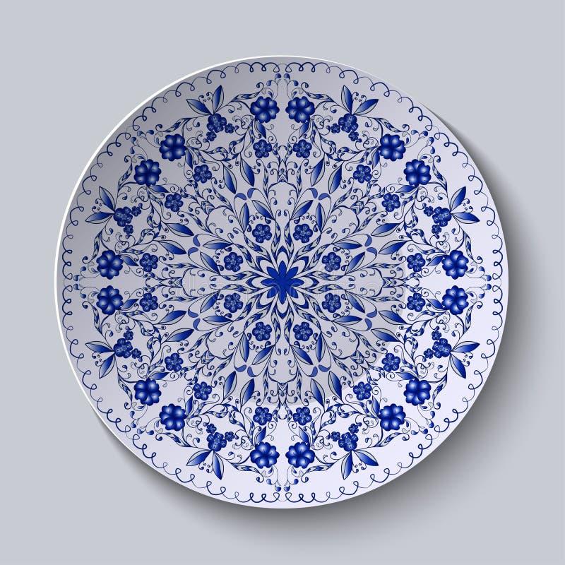 Błękitny kwiecisty kurenda wzór Dekoracyjny ceramiczny talerz royalty ilustracja