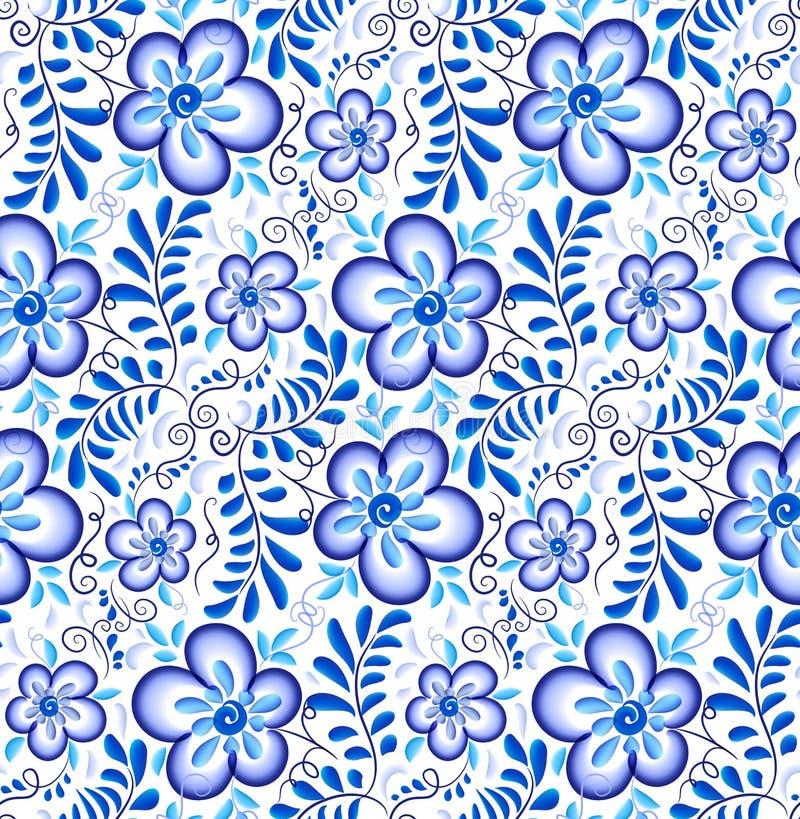 Błękitny kwiecisty ornament w Rosyjskiego gzhel stylu wektorowym bezszwowym wzorze ilustracji
