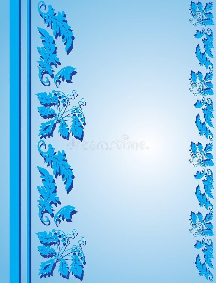 błękitny kwiecisty ramowy ornament ilustracji