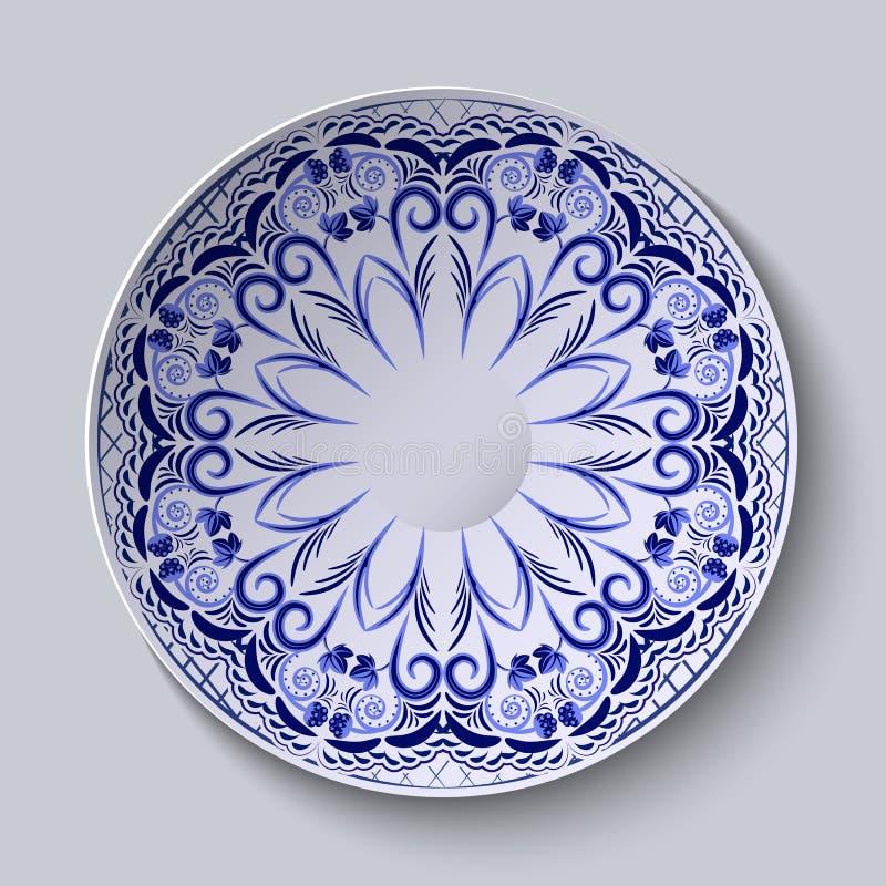 Błękitny kwiecisty wzór na round talerzu Przestylizowanie Chiński porcelana obraz royalty ilustracja