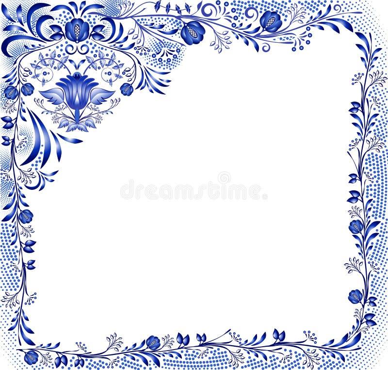 Błękitny kwiecisty wzór z kwiatami na białym tle w stylu krajowego porcelana obrazu Kwadratowa rama z narożnikowym eleme ilustracji