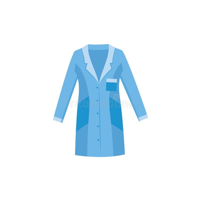Błękitny lab żakiet dla lekarki, pielęgniarki lub naukowa, royalty ilustracja