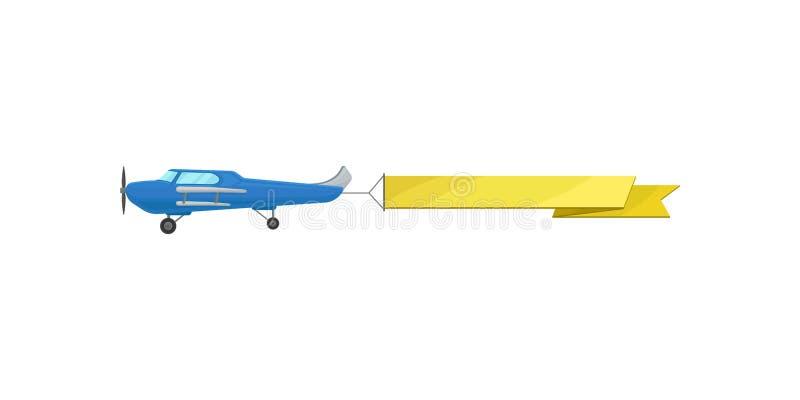 Błękitny latanie samolot z żółtego horyzontalnego reklamowego sztandaru wektorową ilustracją na białym tle ilustracja wektor