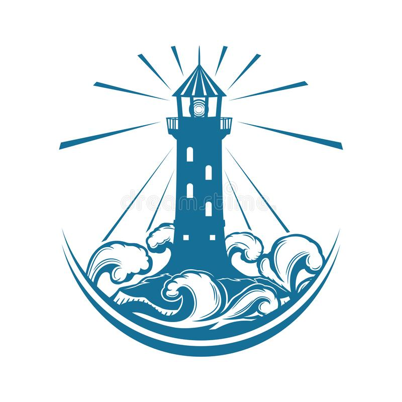 Błękitny latarnia morska znak ilustracji