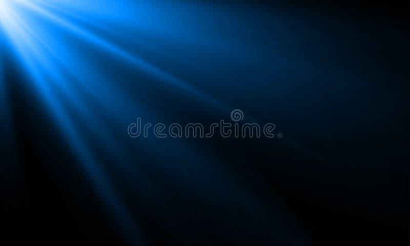 Błękitny lekkiego promienia słońca promienia wektoru tło Abstrakcjonistyczny neonowy błękita światła błysku światło reflektorów t ilustracji