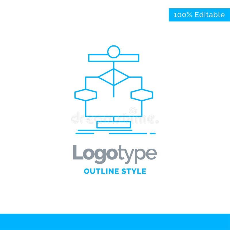 Błękitny logo projekt dla algorytmu, mapa, dane, diagram, przepływ Busi royalty ilustracja