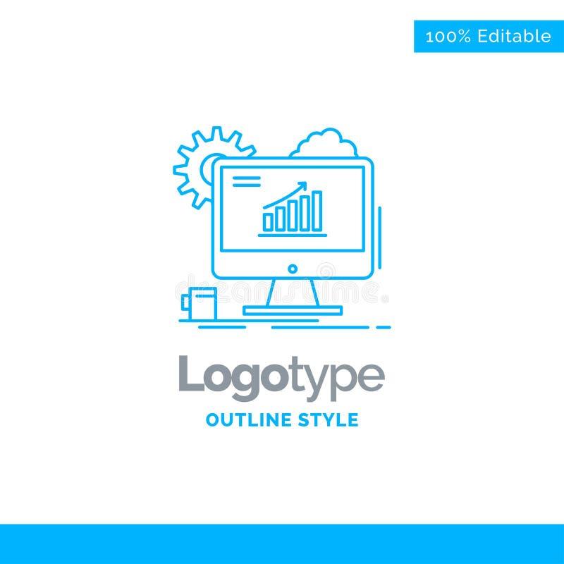 Błękitny logo projekt dla analityka, mapa, seo, sieć, Ustawia Busine ilustracji