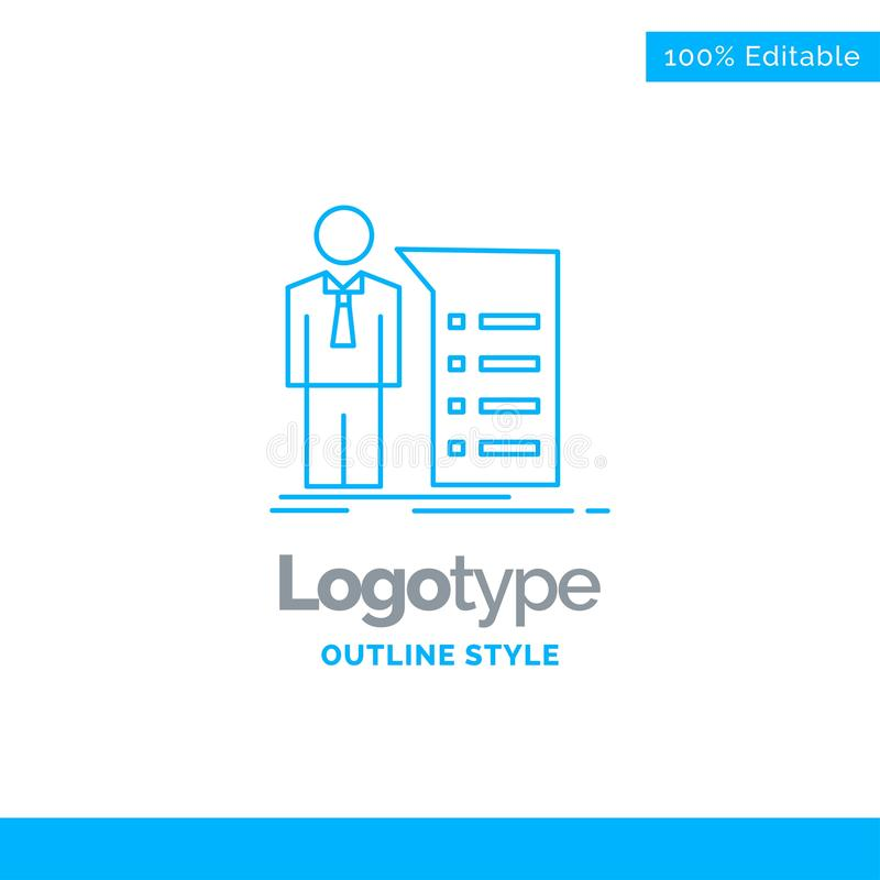 Błękitny logo projekt dla biznesu, wyjaśnienie, wykres, spotkanie, pres royalty ilustracja