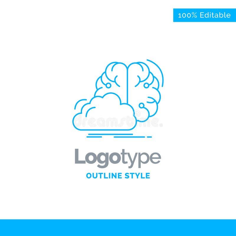 Błękitny logo projekt dla brainstorming, kreatywnie, pomysł, innowacja royalty ilustracja