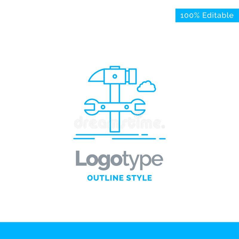 Błękitny logo projekt dla budowy, inżynieria, młot, naprawa, usługa ilustracji