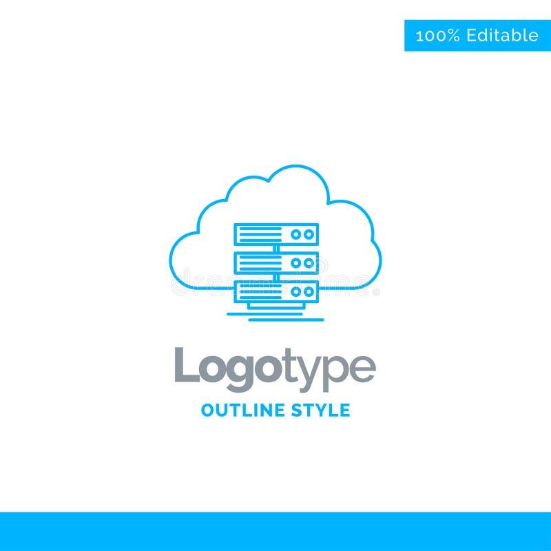 Błękitny logo projekt dla chmury, magazyn, oblicza, dane, przepływ Busi ilustracji