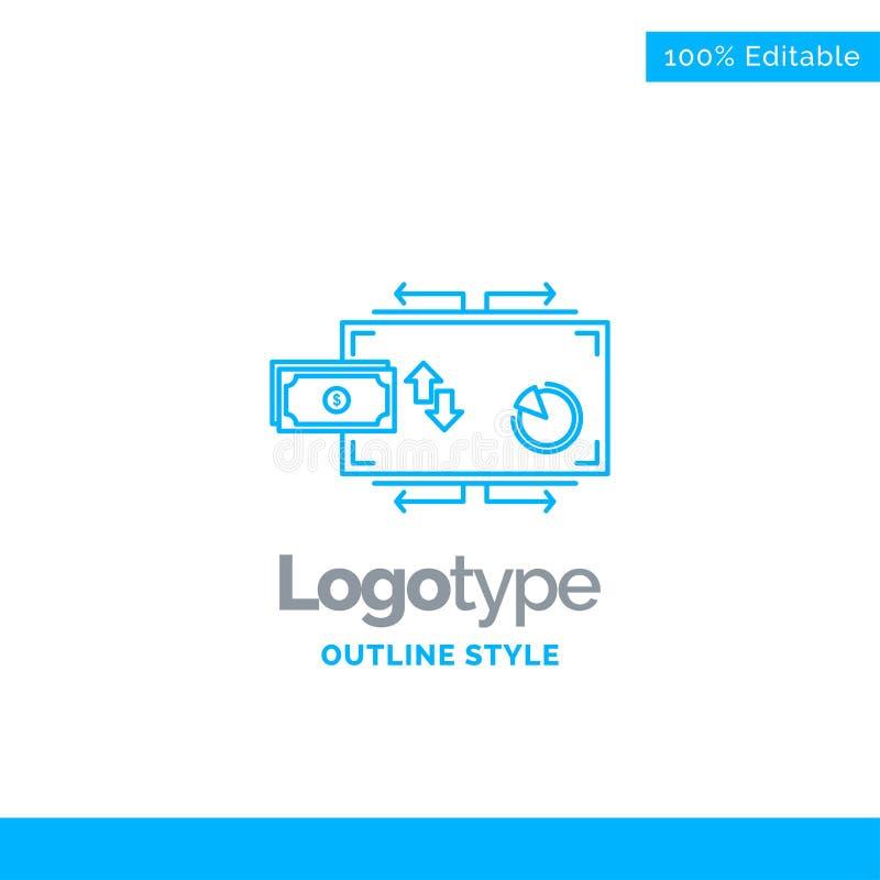 Błękitny logo projekt dla finanse, przepływ, marketing, pieniądze, zapłaty royalty ilustracja
