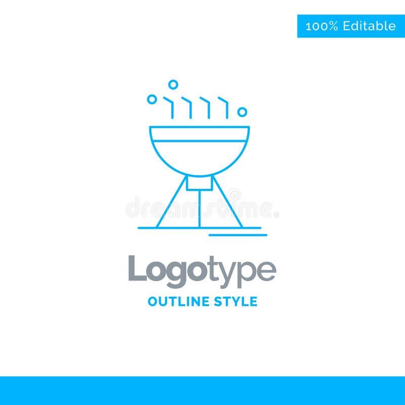 Błękitny logo projekt dla Gotować bbq, camping, jedzenie, grill Biznes ilustracji