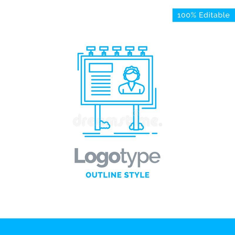 Błękitny logo projekt dla reklamy, reklama, billboard, poczta royalty ilustracja