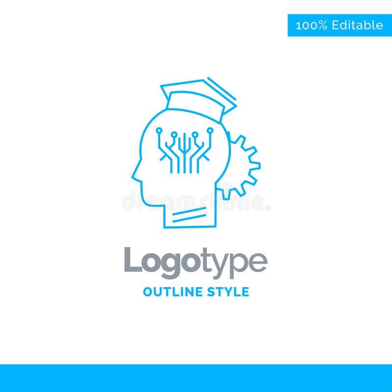 Błękitny logo projekt dla wiedzy, zarządzanie, udzielenie, mądrze, technika ilustracji