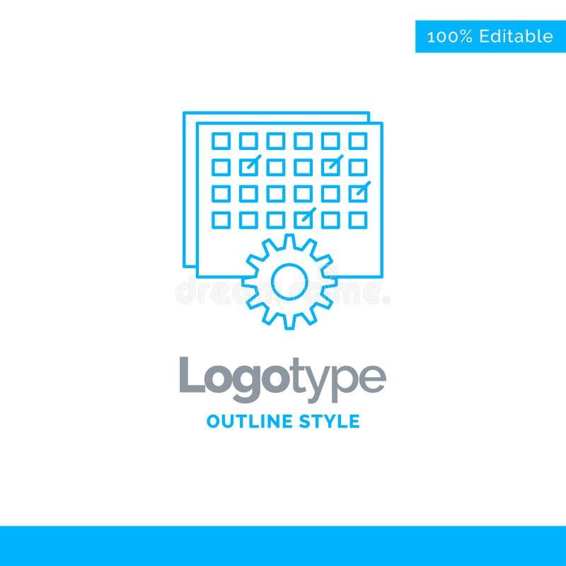 Błękitny logo projekt dla wydarzenia, zarządzanie, przerób, rozkład, ti ilustracja wektor