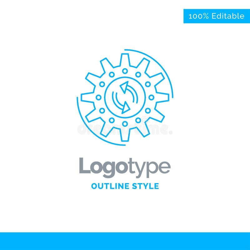Błękitny logo projekt dla zarządzania, proces, produkcja, zadanie, praca royalty ilustracja