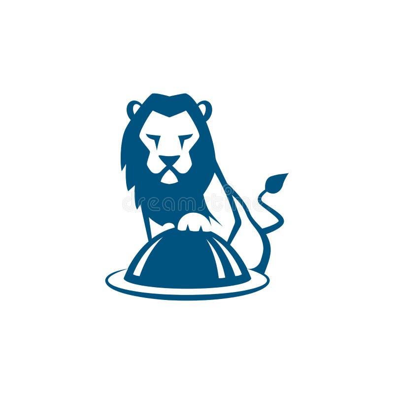 Błękitny lwa kucharz z restauracja talerza wektoru ilustracją ilustracji
