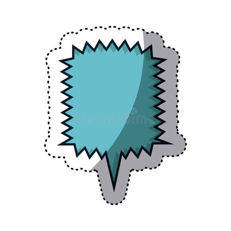 błękitny majcheru kwadrata callout wrzask dla dialog ilustracja wektor
