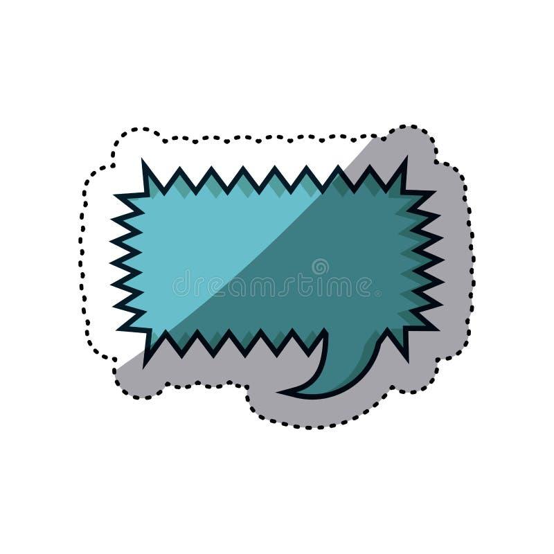 błękitny majcheru prostokąta callout wrzask dla dialog ilustracja wektor