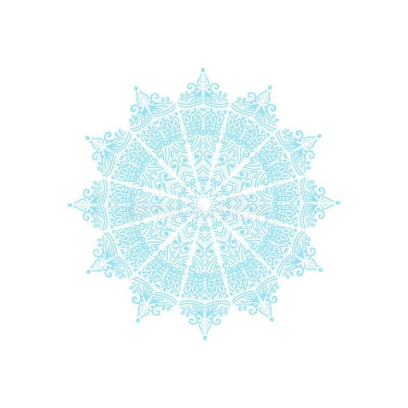 Błękitny mandala na białym tle ilustracja wektor