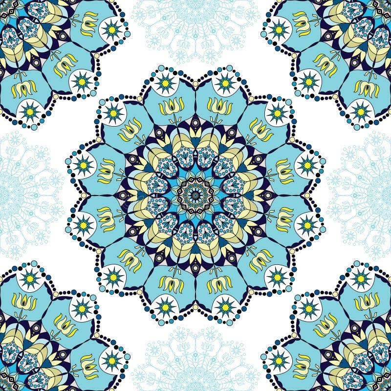 Błękitny mandala wzór ilustracja wektor