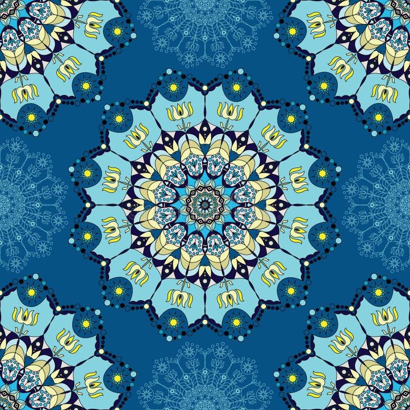 Błękitny mandala wzór ilustracji