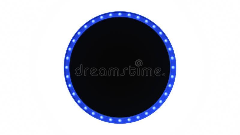 Błękitny markizy światła deski znak retro na białym tle świadczenia 3 d ilustracji
