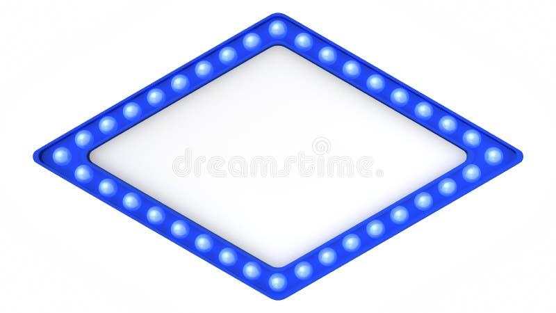 Błękitny markizy światła deski znak retro na białym tle świadczenia 3 d ilustracja wektor