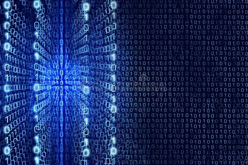 Błękitny Matrycowy abstrakt - binarnego kodu Digital tło royalty ilustracja