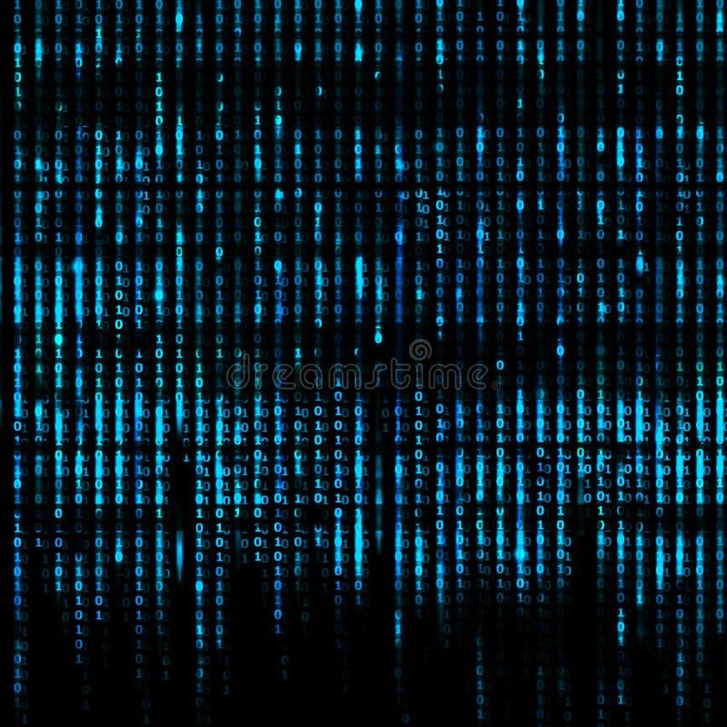 Błękitny Matrycowy abstrakt - binarnego kodu parawanowy tło ilustracji