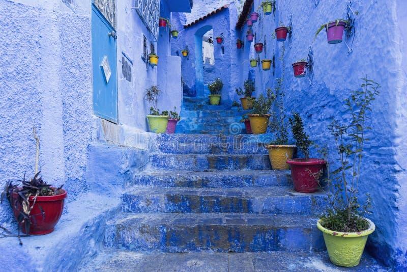 Błękitny miasto Chefchaouen w Maroko zdjęcie royalty free