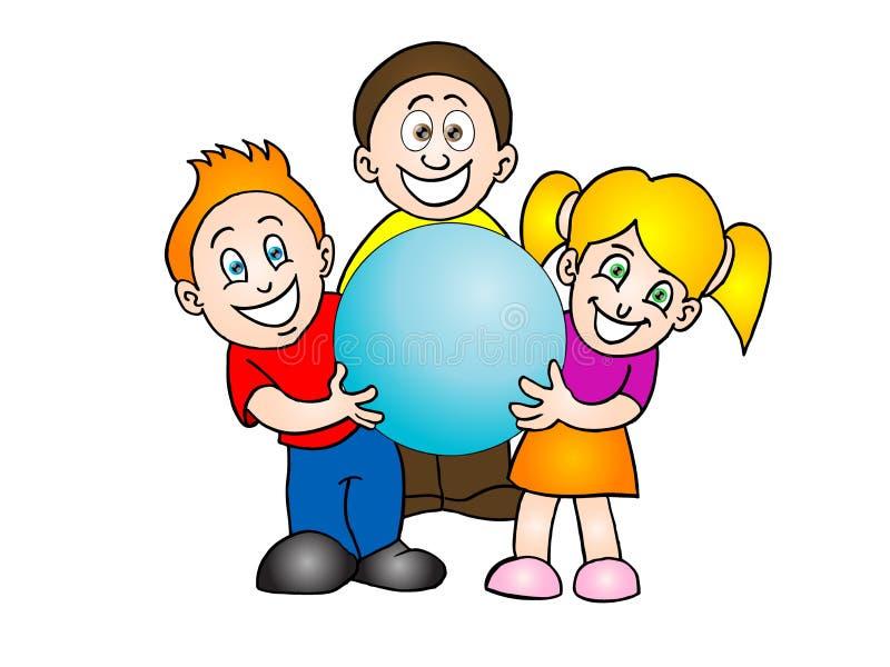 błękitny mienie żartuje sferę trzy ilustracja wektor