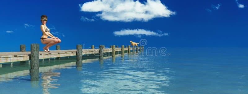 błękitny mola denny słońce drewniany ilustracja wektor