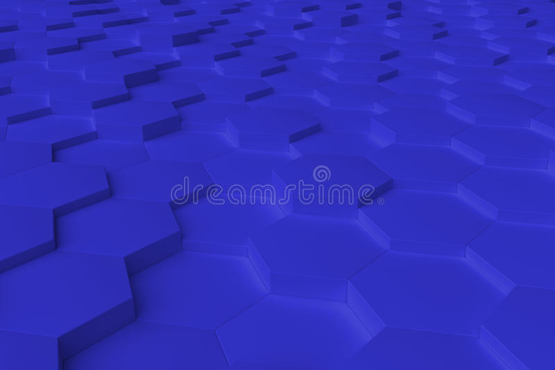 Błękitny monochromatyczny sześciokąt tafluje abstrakcjonistycznego tło zdjęcie stock