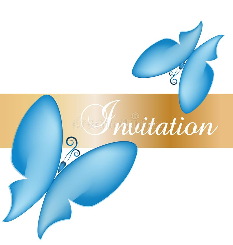 Błękitny motyl karty zaproszenia wektor ilustracji