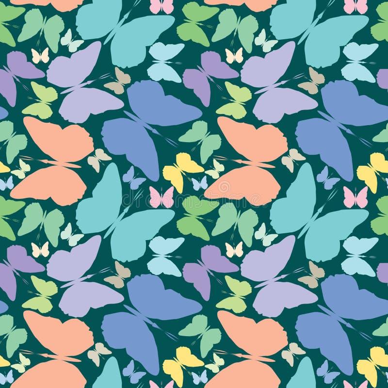 błękitny motyle przedłużyć nad deseniowy bezszwowym ilustracja wektor