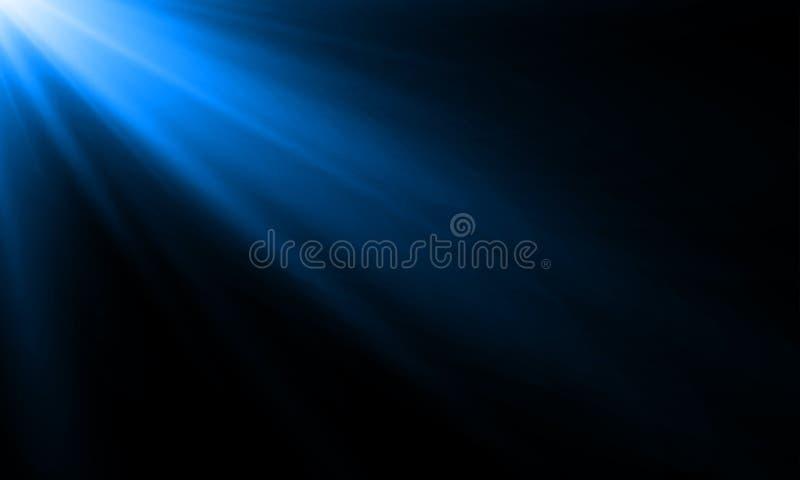 Błękitny neonowy lekkiego promienia słońca promienia wektoru tło Abstrakcjonistyczny neonowego światła błysku światło reflektorów ilustracji