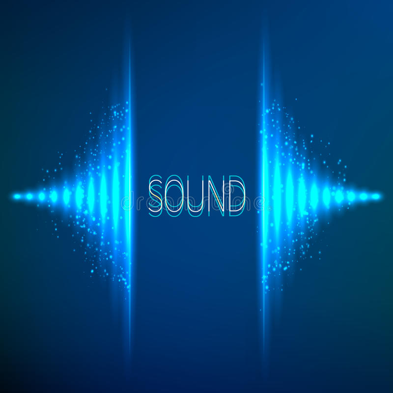Błękitny neonowy stereo wektorowy wyrównywacz ilustracja wektor