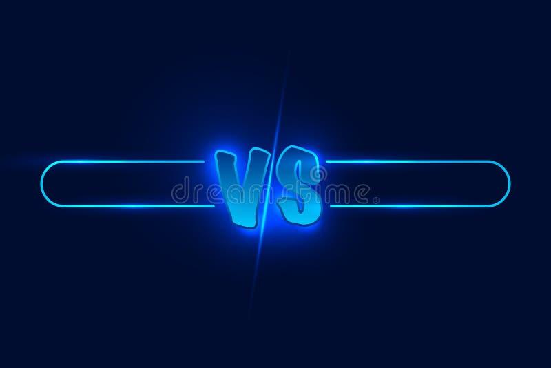 Błękitny neonowy versus logo vs listy dla sportów i walki rywalizaci również zwrócić corel ilustracji wektora royalty ilustracja