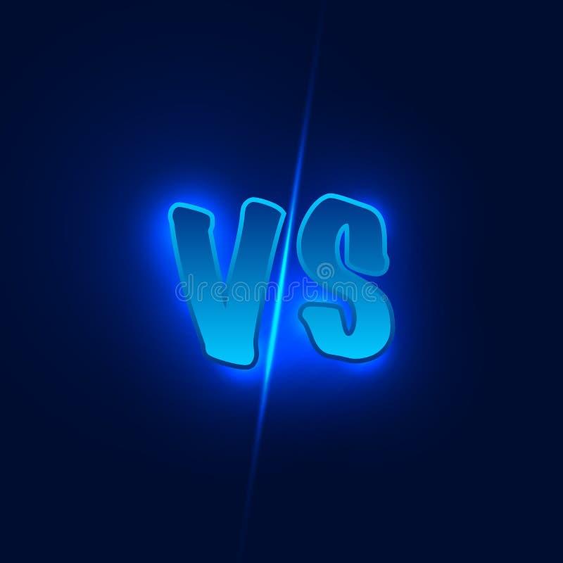 Błękitny neonowy versus logo vs listy dla sportów i walki rywalizaci również zwrócić corel ilustracji wektora ilustracja wektor