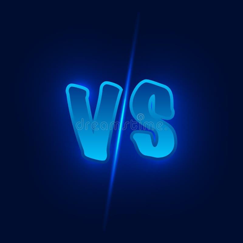 Błękitny neonowy versus logo vs listy dla sportów i walki rywalizaci Zwalcza vs dopasowanie, gemowy pojęcie konkurencyjny vs ilustracja wektor