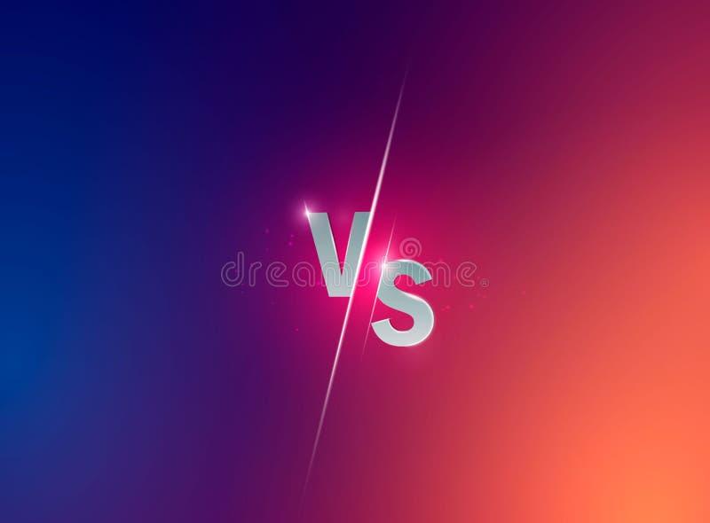 Błękitny neonowy versus logo vs listy dla sportów i walki rywalizaci Zwalcza vs dopasowanie, gemowy pojęcie konkurencyjny vs wekt ilustracji